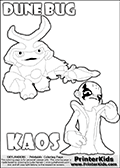 Skylanders Swap Force coloring page with KAOS ( The Skylanders Swap Force Villain )  and a large Dune Bug Skylanders. The Large Skylanders Swap Force Dune Bug is drawn walking.  This KAOS illustration is drawn so that KAOS has a proud, clever or even slightly seaky look on his face. Perhaps he just got a brilliant evil idea! Use this coloring page as inspiration for your own Skylanders stories! Print and color this Skylanders Swap Force DUNE BUG coloring sheet for kids that is drawn and made available by Loke Hansen (http://www.LokeHansen.com) based on images from the Skylanders Swap Force game and website.
