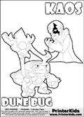 Skylanders Swap Force coloring page with KAOS ( The Skylanders Swap Force Villain )  and a large Dune Bug Skylanders. The Large Skylanders Swap Force Dune Bug is drawn looking to the side.  In this printable sheet, the large DUNE BUG is drawn looking to the side while standing with a staff in one hand.  The drawing of KAOS show the small man-like villain drawn frustrated with his hands in front of his chest. Print and color this Skylanders Swap Force DUNE BUG coloring sheet for kids that is drawn and made available by Loke Hansen (http://www.LokeHansen.com) based on images from the Skylanders Swap Force game.