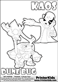 Skylanders Swap Force coloring page with KAOS ( The Skylanders Swap Force Villain )  and a large Dune Bug Skylanders. The Large Skylanders Swap Force Dune Bug is drawn looking to the side.  In this printable sheet, the large DUNE BUG is drawn looking to the side while standing with a staff in one hand.  The KAOS colorable figure is drawn showing KAOS standing with one hand stretched forward as if using a magical ability or reaching for something. Print and color this Skylanders Swap Force DUNE BUG coloring sheet for kids that is drawn and made available by Loke Hansen (http://www.LokeHansen.com) based on images from the Skylanders Swap Force game.