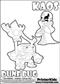 Skylanders Swap Force coloring page with KAOS ( The Skylanders Swap Force Villain )  and a large Dune Bug Skylanders. The Large Skylanders Swap Force Dune Bug is drawn looking to the side.  In this printable sheet, the large DUNE BUG is drawn looking to the side while standing with a staff in one hand.  The drawing of KAOS show the small man-like villain drawn smiling. Print and color this Skylanders Swap Force DUNE BUG coloring sheet for kids that is drawn and made available by Loke Hansen (http://www.LokeHansen.com) based on images from the Skylanders Swap Force game.