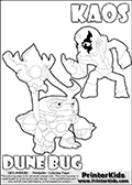 Skylanders Swap Force coloring page with KAOS ( The Skylanders Swap Force Villain )  and a large Dune Bug Skylanders. The Large Skylanders Swap Force Dune Bug is drawn looking to the side.  In this printable sheet, the large DUNE BUG is drawn looking to the side while standing with a staff in one hand.  The drawing of KAOS show the small man-like villain drawn without his robe on! Print and color this Skylanders Swap Force DUNE BUG coloring sheet for kids that is drawn and made available by Loke Hansen (http://www.LokeHansen.com) based on images from the Skylanders Swap Force game.