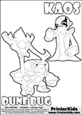 Skylanders Swap Force coloring page with KAOS ( The Skylanders Swap Force Villain )  and a large Dune Bug Skylanders. The Large Skylanders Swap Force Dune Bug is drawn looking to the side.  In this printable sheet, the large DUNE BUG is drawn looking to the side while standing with a staff in one hand.  This KAOS illustration is drawn so that KAOS has a proud, clever or even slightly seaky look on his face. Perhaps he just got a brilliant evil idea! Use this coloring page as inspiration for your own Skylanders stories! Print and color this Skylanders Swap Force DUNE BUG coloring sheet for kids that is drawn and made available by Loke Hansen (http://www.LokeHansen.com) based on images from the Skylanders Swap Force game.