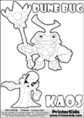 Skylanders Swap Force coloring page with KAOS ( The Skylanders Swap Force Villain )  and a large Dune Bug Skylanders. The Large Skylanders Swap Force Dune Bug is drawn smiling.  In this printable sheet, the large DUNE BUG is drawn smiling while standing with a staff in one hand.  The drawing of KAOS show the small man-like villain drawn reaching forward with his one hand and arm.  Print and color this Skylanders Swap Force DUNE BUG coloring sheet for kids that is drawn and made available by Loke Hansen (http://www.LokeHansen.com) based on images from the Skylanders Swap Force game.