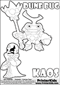 Skylanders Swap Force coloring page with KAOS ( The Skylanders Swap Force Villain )  and a large Dune Bug Skylanders. The Large Skylanders Swap Force Dune Bug is drawn smiling.  In this printable sheet, the large DUNE BUG is drawn smiling while standing with a staff in one hand.  The drawing of KAOS show the small man-like villain drawn smiling. Print and color this Skylanders Swap Force DUNE BUG coloring sheet for kids that is drawn and made available by Loke Hansen (http://www.LokeHansen.com) based on images from the Skylanders Swap Force game.