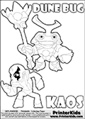 Skylanders Swap Force coloring page with KAOS ( The Skylanders Swap Force Villain )  and a large Dune Bug Skylanders. The Large Skylanders Swap Force Dune Bug is drawn smiling.  In this printable sheet, the large DUNE BUG is drawn smiling while standing with a staff in one hand.  The drawing of KAOS show the small man-like villain drawn without his robe on! Print and color this Skylanders Swap Force DUNE BUG coloring sheet for kids that is drawn and made available by Loke Hansen (http://www.LokeHansen.com) based on images from the Skylanders Swap Force game.