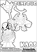 Skylanders Swap Force coloring page with KAOS ( The Skylanders Swap Force Villain )  and a large Dune Bug Skylanders. The Large Skylanders Swap Force Dune Bug is drawn smiling.  In this printable sheet, the large DUNE BUG is drawn smiling while standing with a staff in one hand.  KAOS is drawn trapped in plants on this kids printable coloring sheet. Print and color this Skylanders Swap Force DUNE BUG coloring sheet for kids that is drawn and made available by Loke Hansen (http://www.LokeHansen.com) based on images from the Skylanders Swap Force game.