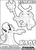 Skylanders Swap Force coloring page with KAOS ( The Skylanders Swap Force Villain )  and a large Dune Bug Skylanders. The Large Skylanders Swap Force Dune Bug is drawn slightly from above. In this printable sheet, the large DUNE BUG coloring model is drawn standing with a staff in one hand.  The drawing of KAOS show the small man-like villain drawn reaching forward with his one hand and arm.  Print and color this Skylanders Swap Force DUNE BUG coloring sheet for kids that is drawn and made available by Loke Hansen (http://www.LokeHansen.com) based on images from the Skylanders Swap Force game.