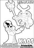 Skylanders Swap Force coloring page with KAOS ( The Skylanders Swap Force Villain )  and a large Dune Bug Skylanders. The Large Skylanders Swap Force Dune Bug is drawn slightly from above. In this printable sheet, the large DUNE BUG coloring model is drawn standing with a staff in one hand.  The KAOS illustration is drawn showing KAOS in a braggin-like pose. Why is KAOS happy, What is KAOS planning? Make your own Skylanders Swap Force adventure with this kids printable sheet. Print and color this Skylanders Swap Force DUNE BUG coloring sheet for kids that is drawn and made available by Loke Hansen (http://www.LokeHansen.com) based on images from the Skylanders Swap Force game.