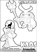 Skylanders Swap Force coloring page with KAOS ( The Skylanders Swap Force Villain )  and a large Dune Bug Skylanders. The Large Skylanders Swap Force Dune Bug is drawn slightly from above. In this printable sheet, the large DUNE BUG coloring model is drawn standing with a staff in one hand.  The drawing of KAOS show the small man-like villain drawn smiling. Print and color this Skylanders Swap Force DUNE BUG coloring sheet for kids that is drawn and made available by Loke Hansen (http://www.LokeHansen.com) based on images from the Skylanders Swap Force game.