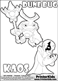Skylanders Swap Force coloring page with the inect-like figure DUNE BUG from the MAGIC ELEMENT. Skylanders Swap Force coloring page with KAOS ( The Skylanders Swap Force Villain )  and a large Dune Bug Skylanders. In this printable sheet, the largest DUNE BUG is drawn standing with a staff in one hand.  The drawing of KAOS show the small man-like villain drawn frustrated with his hands in front of his chest. Print and color this Skylanders Swap Force DUNE BUG coloring sheet for kids that is drawn and made available by Loke Hansen (http://www.LokeHansen.com) based on images from the Skylanders Swap Force game.