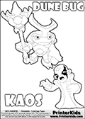 Skylanders Swap Force coloring page with the inect-like figure DUNE BUG from the MAGIC ELEMENT. Skylanders Swap Force coloring page with KAOS ( The Skylanders Swap Force Villain )  and a large Dune Bug Skylanders. In this printable sheet, the largest DUNE BUG is drawn standing with a staff in one hand.  The colorable drawing of KAOS looks as if he is about to jump on someone or something - perhaps he is furious and want to attack Dune Bug? This kids printable is ment to inspire creativity so that kids can create their very own small Skylanders stories. Print and color this Skylanders Swap Force DUNE BUG coloring sheet for kids that is drawn and made available by Loke Hansen (http://www.LokeHansen.com) based on images from the Skylanders Swap Force game.