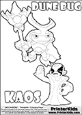 Skylanders Swap Force coloring page with the inect-like figure DUNE BUG from the MAGIC ELEMENT. Skylanders Swap Force coloring page with KAOS ( The Skylanders Swap Force Villain )  and a large Dune Bug Skylanders. In this printable sheet, the largest DUNE BUG is drawn standing with a staff in one hand.  KAOS is drawn with a fist raised high in the air as if he is victorious or just came up with a great plan or idea. The kids coloring page is ment to inspire creativity and is an ideal story starter for Skylanders Swap Force fans. Print and color this Skylanders Swap Force DUNE BUG coloring sheet for kids that is drawn and made available by Loke Hansen (http://www.LokeHansen.com) based on images from the Skylanders Swap Force game.