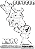 Skylanders Swap Force coloring page with the inect-like figure DUNE BUG from the MAGIC ELEMENT. Skylanders Swap Force coloring page with KAOS ( The Skylanders Swap Force Villain )  and a large Dune Bug Skylanders. In this printable sheet, the largest DUNE BUG is drawn standing with a staff in one hand.  The kids colouring sheet is made with KAOS drawn with his arms stretched far out with open hands. What is KAOS planning this time? Use this kids printable to make your very own Skylanders Swap Force adventure! Print and color this Skylanders Swap Force DUNE BUG coloring sheet for kids that is drawn and made available by Loke Hansen (http://www.LokeHansen.com) based on images from the Skylanders Swap Force game.