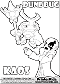 Skylanders Swap Force coloring page with the inect-like figure DUNE BUG from the MAGIC ELEMENT. Skylanders Swap Force coloring page with KAOS ( The Skylanders Swap Force Villain )  and a large Dune Bug Skylanders. In this printable sheet, the largest DUNE BUG is drawn standing with a staff in one hand.  The KAOS illustration is drawn showing KAOS in a braggin-like pose. Why is KAOS happy, What is KAOS planning? Make your own Skylanders Swap Force adventure with this kids printable sheet. Print and color this Skylanders Swap Force DUNE BUG coloring sheet for kids that is drawn and made available by Loke Hansen (http://www.LokeHansen.com) based on images from the Skylanders Swap Force game.