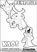 Skylanders Swap Force coloring page with the inect-like figure DUNE BUG from the MAGIC ELEMENT. Skylanders Swap Force coloring page with KAOS ( The Skylanders Swap Force Villain )  and a large Dune Bug Skylanders. In this printable sheet, the largest DUNE BUG is drawn standing with a staff in one hand.  The drawing of KAOS show the small man-like villain drawn smiling. Print and color this Skylanders Swap Force DUNE BUG coloring sheet for kids that is drawn and made available by Loke Hansen (http://www.LokeHansen.com) based on images from the Skylanders Swap Force game.