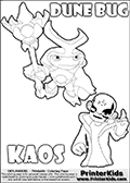Skylanders Swap Force coloring page with the inect-like figure DUNE BUG from the MAGIC ELEMENT. Skylanders Swap Force coloring page with KAOS ( The Skylanders Swap Force Villain )  and a large Dune Bug Skylanders. In this printable sheet, the largest DUNE BUG is drawn standing with a staff in one hand.  The drawing of KAOS is made so that KAOS is illustrated with a finger raised - as if he is making a point or has an idea. Print and color this Skylanders Swap Force DUNE BUG coloring sheet for kids that is drawn and made available by Loke Hansen (http://www.LokeHansen.com) based on images from the Skylanders Swap Force game.