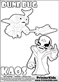 Skylanders Swap Force coloring page with the inect-like figure DUNE BUG Skylander. Skylanders Swap Force coloring page with KAOS ( The Skylanders Swap Force Villain )  and a large Dune Bug Skylanders. The Large Skylanders Swap Force Dune Bug is drawn ready for action.  In this printable sheet, the largest DUNE BUG is drawn standing with a staff pointed forward - ready for some battle action.  The drawing of KAOS is made so that KAOS is illustrated with a finger raised - as if he is making a point or has an idea. Print and color this Skylanders Swap Force DUNE BUG coloring sheet for kids that is drawn and made available by Loke Hansen (http://www.LokeHansen.com) based on images from the Skylanders Swap Force game.