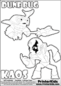 Skylanders Swap Force coloring page with the inect-like figure DUNE BUG Skylander. Skylanders Swap Force coloring page with KAOS ( The Skylanders Swap Force Villain )  and a large Dune Bug Skylanders. The Large Skylanders Swap Force Dune Bug is drawn ready for action.  In this printable sheet, the largest DUNE BUG is drawn standing with a staff pointed forward - ready for some battle action.  The drawing of KAOS show the small man-like villain drawn without his robe on! Print and color this Skylanders Swap Force DUNE BUG coloring sheet for kids that is drawn and made available by Loke Hansen (http://www.LokeHansen.com) based on images from the Skylanders Swap Force game.