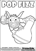 Printout or online colorable page for kids with the Skylanders Swap Force SUPER GULP POP FIZZ skylander. The cute skylander is drawn standing on- and hanging onto a huge potion (flask with a magical liquid). Print and color this Skylanders Swap Force SUPER GULP POP FIZZ coloring sheet for kids that is drawn and made available by Loke Hansen (http://www.LokeHansen.com) based on an image from the official Skylanders Swap Force website.