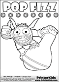 Colorable page for kids that can be printed out or colored online, with the Skylanders Swap Force SUPER GULP POP FIZZ character. In this colouring sheet, the furry skylander character is handing onto a large potion while smiling and giving -thumbs up-. The coloring page has magic element symbols on a row above the SUPER GULP POP FIZZ colorable figure. Print and color this Skylanders Swap Force SUPER GULP POP FIZZ coloring sheet for kids that is drawn and made available by Loke Hansen (http://www.LokeHansen.com) based on an image from the official Skylanders Swap Force website.