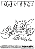 Skylanders Swap Force coloring page with SUPER GULP POP FIZZ drawn smiling and with a potion in one of its hands. SUPER GULP POP FIZ look ready to drink the magical potion - but perhaps he is just going to throw it at an enemy? That is completely up to you, draw whatever you want alongside POP FIZZ to create an adventure of your own! Print and color this Skylanders Swap Force SUPER GULP POP FIZZ coloring sheet for kids that is drawn and made available by Loke Hansen (http://www.LokeHansen.com) based on an image from the Skylanders Swap Force Game.