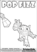 Skylanders Swap Force kids sheet for printout or coloring online with SUPER GULP POP FIZZ. The cute magic element  character is drawn after it has thrown a magical potion. The potion bomb is still in the air and SUPER GULP POP FIZZ is looking very happy. That potion is gonna hit something! Draw SUPER GULP POP FIZZs target if you want, and complete the scene! Print and color this Skylanders Swap Force SUPER GULP POP FIZZ coloring sheet for kids that is drawn and made available by Loke Hansen (http://www.LokeHansen.com) based on an image from the official Skylanders Swap Force website.