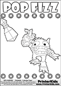 Printout or online colorable page for kids with the Skylanders Swap Force SUPER GULP POP FIZZ skylander. Thi coloring sheet is made with magic element symbols in two rows that can be colored, in addition to SUPER GULP POP FIZZ and a magic potion that is in the air. Print and color this Skylanders Swap Force SUPER GULP POP FIZZ coloring sheet for kids that is drawn and made available by Loke Hansen (http://www.LokeHansen.com) based on an image from the official Skylanders Swap Force website.