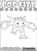 Skylanders Swap Force kids sheet for printout or coloring online with SUPER GULP POP FIZZ. The cute magic element  character is drawn running with magical potion. This kids sheet has colorable text with the letters