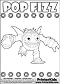 Printout or online colorable page for kids with the Skylanders Swap Force SUPER GULP POP FIZZ skylander. This coloring sheet is made with magic element symbols in two rows that can be colored, in addition to SUPER GULP POP FIZZ that is running with a flask of liquid magic in its right hand. Print and color this Skylanders Swap Force SUPER GULP POP FIZZ coloring sheet for kids that is drawn and made available by Loke Hansen (http://www.LokeHansen.com) based on an image from the official Skylanders Swap Force website.