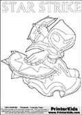 Skylanders Swap Force coloring page the non swap able skylander STAR STRIKE from the MAGIC ELEMENT. Print and color this Skylanders Swap Force STAR STRIKE coloring sheet for kids that is drawn and made available by Loke Hansen (http://www.LokeHansen.com) based on an image from the official Skylanders Swap Force website ( Series 1 Star Strike Section Image ). The Coloring page is drawn based on the Series 1 variant of the Star Strike Skylanders figure.