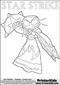 Skylanders Swap Force coloring page with a lightcore STAR STRIKE magic element Skylander.  Print and color this Skylanders Swap Force STAR STRIKE coloring sheet for kids that is drawn and made available by Loke Hansen (http://www.LokeHansen.com) based on an image from the Skylanders Swap Force PS3 game with Lightcore Star Strike figure in action. This version of the colouring sheet has the light from Star Strikes eyes shown as thin lines.