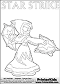 Skylanders coloring page with  STAR STRIKE drawn from the side while turning around with her weapons (one in each hand).  Print and color this Skylanders Swap Force STAR STRIKE coloring sheet for kids that is drawn and made available by Loke Hansen (http://www.LokeHansen.com) based on an image from the Skylanders Swap Force PS3 game.