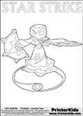 Magical coloring page for printing or coloring online with a Star Strike figure surrounded by a magic circle. Print and color this Skylanders Swap Force STAR STRIKE coloring sheet for kids that is drawn and made available by Loke Hansen (http://www.LokeHansen.com) inspired by a screenshot from the Skylanders Swap Force PS3 game while playing with the Star Strike figure.