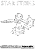 Coloring page for printing or coloring online with a Star Strike figure drawn from the front. The Star Strike figure is drawn attacking with a weapon in each hand. Print and color this Skylanders Swap Force STAR STRIKE coloring sheet for kids that is drawn and made available by Loke Hansen (http://www.LokeHansen.com) inspired by a screenshot from the Skylanders Swap Force PS3 game while playing with the Star Strike figure.