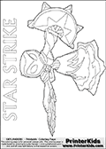 Coloring page for printing or coloring online with a Star Strike figure drawn from the front. The Star Strike figure is drawn attacking with a weapon in each hand. This coloring sheet is designed to match with the largest fit area for the character on an A4 sized paper.  Print and color this Skylanders Swap Force STAR STRIKE coloring sheet for kids that is drawn and made available by Loke Hansen (http://www.LokeHansen.com) inspired by a screenshot from the Skylanders Swap Force PS3 game while playing with the Star Strike figure.