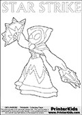 Skylanders Swap Force colouring sheet for kids with a Star Strike figure drawn somewhat from the side. The Star Strike figure is drawn with a weapon in each hand, holding one diagonally downwards and the other diagonally upwards. Print and color this Skylanders Swap Force STAR STRIKE coloring sheet for kids that is drawn and made available by Loke Hansen (http://www.LokeHansen.com) inspired by a screenshot from the Skylanders Swap Force PS3 game while playing with the Star Strike figure.