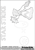 Skylanders Swap Force kids colorable page  with a Star Strike figure drawn somewhat from the side while attacking with an amazing magical ability. The Star Strike figure is drawn attacking with magical energy shaped as stars, passing though a magical circle and ending in a magical orb. Print and color this Skylanders Swap Force STAR STRIKE coloring sheet for kids that is drawn and made available by Loke Hansen (http://www.LokeHansen.com) inspired by a screenshot from the Skylanders Swap Force PS3 game while playing with the Star Strike figure.