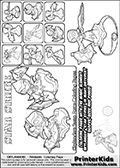 Skylanders Swap Force coloring page with a group of Star Strike Skylanders. This Star Strike kids coloring page was originally designed as a section image for the Star Strike Skylanders Swap Force coloring section at PrinterKids. Print and color this Skylanders Swap Force STAR STRIKE  coloring sheet for kids that is drawn and made available by Loke Hansen (http://www.LokeHansen.com) based on images from the official Skylanders Swap Force website and the Skylanders Swap Force Game.