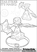 Skylanders Swap Force coloring page printout with two magical STAR STRIKE Skylanders figures. This colouring page show Star Strike using two magical abilities from the actual game moves. Color the magic or get inspired and learn how to draw Star Strike based on the coloring print strokes. Print and color this Skylanders Swap Force STAR STRIKE  coloring sheet for kids that is drawn and made available by Loke Hansen (http://www.LokeHansen.com) based on images from the official Skylanders Swap Force website and the Skylanders Swap Force Game.