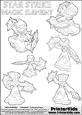 Skylanders Swap Force coloring page with six ( 6 ) different STAR STRIKE magic element Skylanders for colouring. The six Star Strike figure poses are different, the Skylanders Swap force figure is drawn with its two weapons in different ways and in some of the colorable poses, Star Strik is drawn rotating or turning around with her weapons. Print and color this Skylanders Swap Force STAR STRIKE  coloring sheet for kids that is drawn and made available by Loke Hansen (http://www.LokeHansen.com) based on images from the official Skylanders Swap Force website and the Skylanders Swap Force Game.