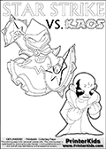 Colouring sheet with a clearly annoyed KAOS and Star Strike. Skylanders Swap Force coloring page with the non swap able arcane magician figure ( or character ) STAR STRIKE from the MAGIC ELEMENT. STAR STRIKE is a playable Skylanders Swap Force figure. Print and color this Skylanders Swap Force STAR STRIKE coloring sheet for kids that is drawn and made available by Loke Hansen (http://www.LokeHansen.com) based on an image from the official Skylanders Swap Force website ( Light Core Star Strike Section Image ). The Coloring page is drawn based on the LIGHT CORE variant of the Star Strike Skylanders figure. The Light Core and Series 1 versions are almost identical