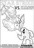 Coloring activity page with Kaos drawn with legs! This kids colouring sheet has a drawing of Kaos with Glumshanks legs as he is shown at te very end of the Skylanders Swap Force Game in a cut scene. The coloring page also show the Star Strike skylander and has colorable texts! Skylanders Swap Force coloring page with the non swap able arcane magician figure ( or character ) STAR STRIKE from the MAGIC ELEMENT. STAR STRIKE is a playable Skylanders Swap Force figure. Print and color this Skylanders Swap Force STAR STRIKE coloring sheet for kids that is drawn and made available by Loke Hansen (http://www.LokeHansen.com) based on an image from the official Skylanders Swap Force website ( Light Core Star Strike Section Image ). The Coloring page is drawn based on the LIGHT CORE variant of the Star Strike Skylanders figure. The Light Core and Series 1 versions are almost identical