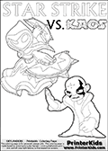 Activity page with Kaos and Star Strike from Skylanders Swap Force. In this kids coloring page with colorable text and figures, Kaos is drawn with one hand out in front of him as if gesturing to Star Strike - BRING IT ON! Skylanders Swap Force coloring page the non swap able skylander STAR STRIKE from the MAGIC ELEMENT. Print and color this Skylanders Swap Force STAR STRIKE coloring sheet for kids that is drawn and made available by Loke Hansen (http://www.LokeHansen.com) based on an image from the official Skylanders Swap Force website ( Series 1 Star Strike Section Image ). The Coloring page is drawn based on the Series 1 variant of the Star Strike Skylanders figure.