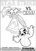 Inspirational adventure kick-starting kids coloring activity page with a scared looking Kaos and the Star Strike Skylander. The Kaos pose is based on one of the ending scenes in the Skylanders Swap Force game where a mountain of dark crystals are about to fall upon Kaos, but what adventure will your young Skylander fan be able to come up with? This printout colouring sheet has colorable text in addition to the two Skylanders figures for coloring! Skylanders Swap Force coloring page with a lightcore variant of the STAR STRIKE magic element Skylander.  Print and color this Skylanders Swap Force STAR STRIKE coloring sheet for kids that is drawn and made available by Loke Hansen (http://www.LokeHansen.com) based on an image from the Skylanders Game. The Coloring page is drawn based on a PS3 game screenshot of the Lightcore Star Strike figure in action