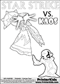 Activity page with Kaos and Star Strike from Skylanders Swap Force. In this kids coloring page with colorable text and figures, Kaos is drawn with one hand out in front of him as if gesturing to Star Strike - BRING IT ON! Skylanders Swap Force coloring page with a lightcore variant of the STAR STRIKE magic element Skylander.  Print and color this Skylanders Swap Force STAR STRIKE coloring sheet for kids that is drawn and made available by Loke Hansen (http://www.LokeHansen.com) based on an image from the Skylanders Game. The Coloring page is drawn based on a PS3 game screenshot of the Lightcore Star Strike figure in action