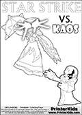 Activity page for young Skylanders Swap Force fans with colorable figures and letters. This kids colouring sheet show Kaos drawn as if he is showing off. Perhaps he is telling about his newest evil idea or showing a magical beast he got his hands on! Skylanders Swap Force coloring page with a lightcore variant of the STAR STRIKE magic element Skylander.  Print and color this Skylanders Swap Force STAR STRIKE coloring sheet for kids that is drawn and made available by Loke Hansen (http://www.LokeHansen.com) based on an image from the Skylanders Game. The Coloring page is drawn based on a PS3 game screenshot of the Lightcore Star Strike figure in action