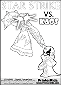 Activity page for kids with coloring figures and letters. Kaos is drawn almost sneaking away from the scene in this colouring sheet with Star Strike. But why? Draw the rest of the story if you are up for the challenge! Skylanders Swap Force coloring page with a lightcore variant of the STAR STRIKE magic element Skylander.  Print and color this Skylanders Swap Force STAR STRIKE coloring sheet for kids that is drawn and made available by Loke Hansen (http://www.LokeHansen.com) based on an image from the Skylanders Game. The Coloring page is drawn based on a PS3 game screenshot of the Lightcore Star Strike figure in action