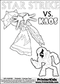 Coloring activity page with Kaos drawn with legs! This kids colouring sheet has a drawing of Kaos with Glumshanks legs as he is shown at te very end of the Skylanders Swap Force Game in a cut scene. The coloring page also show the Star Strike skylander and has colorable texts! Skylanders Swap Force coloring page with a lightcore variant of the STAR STRIKE magic element Skylander.  Print and color this Skylanders Swap Force STAR STRIKE coloring sheet for kids that is drawn and made available by Loke Hansen (http://www.LokeHansen.com) based on an image from the Skylanders Game. The Coloring page is drawn based on a PS3 game screenshot of the Lightcore Star Strike figure in action