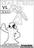 Inspirational coloring activity page with a triumphant looking Kaos and the popular Star Strike skylander figures - and colorable text! Kaos is drawn standing with an arm raised high with his hand formed as a fist. He is looking triumphant, happy or perhaps very confident! Make your own Skylanders adventure and add your story to the printout sheet. Skylanders Swap Force coloring page with a lightcore STAR STRIKE magic element Skylander.  Print and color this Skylanders Swap Force STAR STRIKE coloring sheet for kids that is drawn and made available by Loke Hansen (http://www.LokeHansen.com) based on an image from the Skylanders Swap Force PS3 game with Lightcore Star Strike figure in action. This version of the colouring sheet has the light from Star Strikes eyes shown as thin lines.