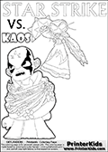 Kids activity page with a colouring picture of Kaos trapped and entangled in branches, leaves and flower. The Kaos illustration is drawn based on a cut scene in the Skylanders Swap Force game. It looks as if this is the end for Kaos, and Star Strike is there to ensure it... But if you have completed the game then you know how this all ends... Perhaps your young Skylanders Swap Force fan has another adventure in mind from this point on? Use this kids activity page with colorable text and figures as inspiration for your very own adventure! Skylanders Swap Force coloring page with a lightcore STAR STRIKE magic element Skylander.  Print and color this Skylanders Swap Force STAR STRIKE coloring sheet for kids that is drawn and made available by Loke Hansen (http://www.LokeHansen.com) based on an image from the Skylanders Swap Force PS3 game with Lightcore Star Strike figure in action. This version of the colouring sheet has the light from Star Strikes eyes shown as thin lines.